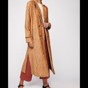 Free People Out All Night Maxi Coat Jacquard Med